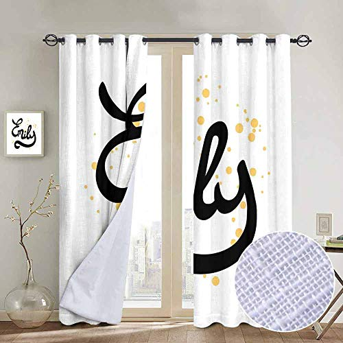 """NUOMANAN Bedroom Curtains Emily,Hand Drawn Monochrome Cursive Font Modern Calligraphic Signature Design,Mustard Black and White,Thermal Insulated Room Darkening Window Shade 84""""x100"""""""