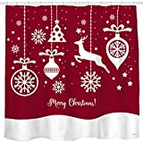 Geometric Red Background Shower Curtain with Christmas Balls and Ornaments Bathroom Home Office Holiday Wall Decoration as Tapestry and Photo Booth Backdrop