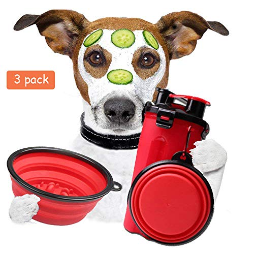 Dog Water Bottle – Collapsible Dog Bowl For Cat Walking Food Containers With 2 Pcs Water Bowls – Large Dog Bowl Travel…
