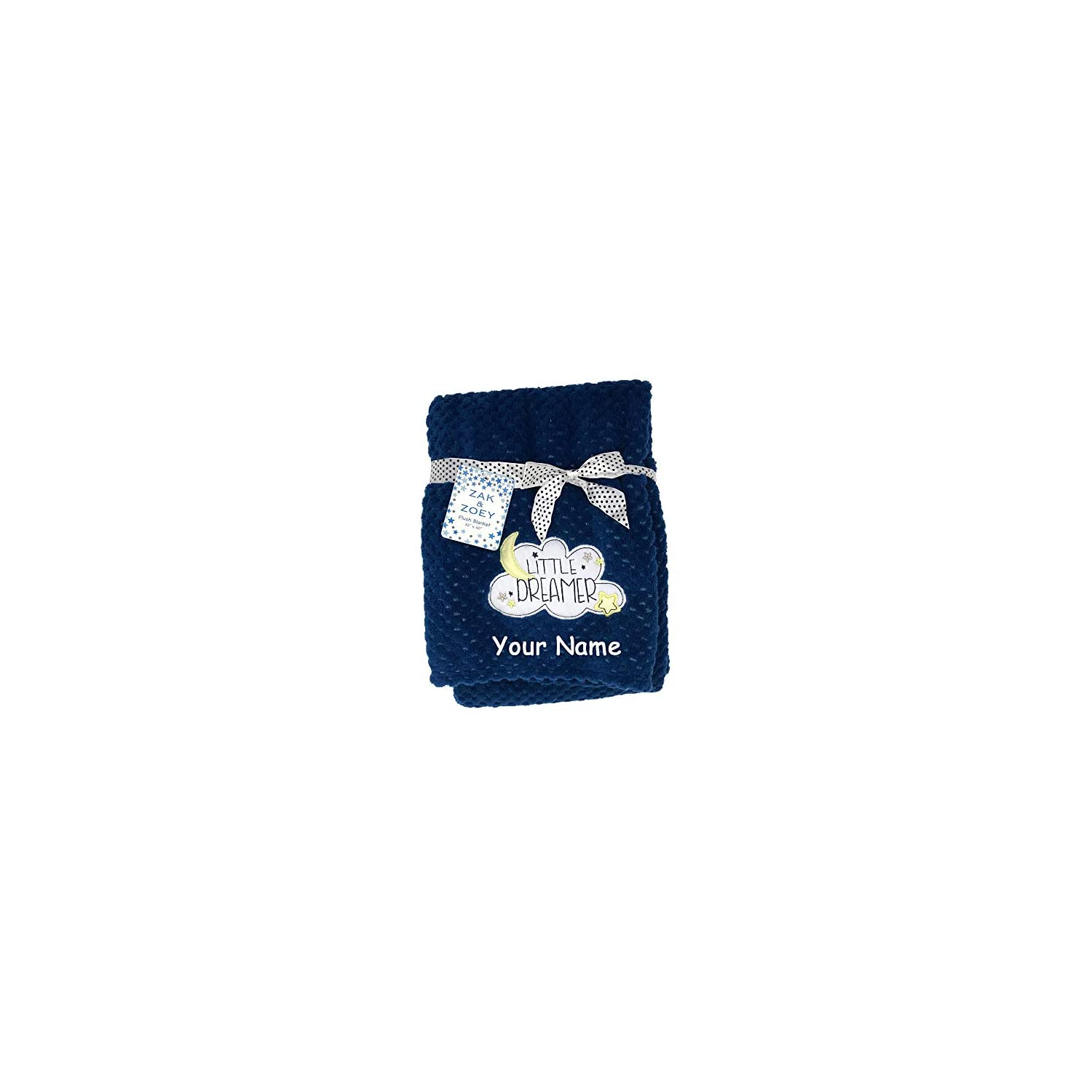 Zak & Zoey Personalized Little Dreamer Moon and Stars Blue Plush Blanket for Baby Boy or Girl with Custom Name – 40 Inches
