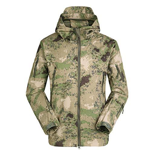 (WELCOMEUNI Men's Outdoors Snowboarding Winter Waterproof Soft Shell Windbreaker Warm Jacket Assault Jackets Coat Army Green)