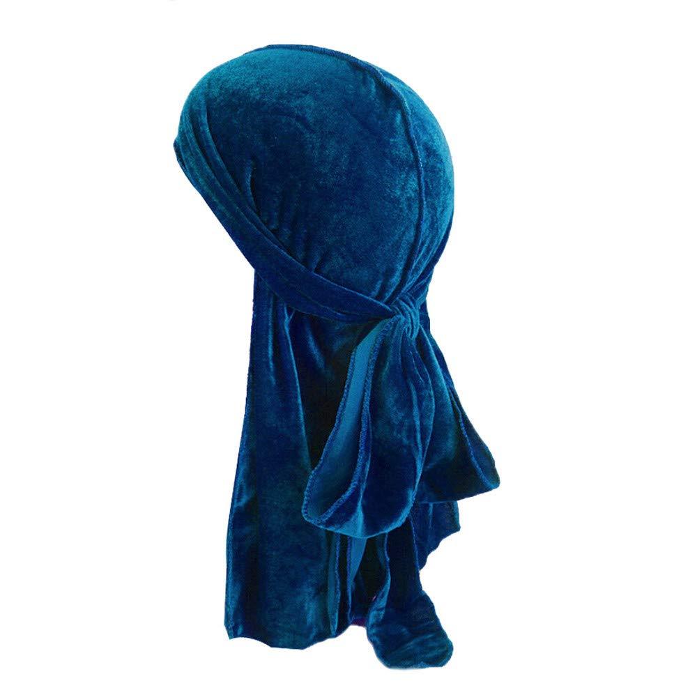 Naiflowers Unisex Men Women's Fashion Elegant Velvet Bandana Hat Durag Rag Tail Headwrap Headwear (Dark Blue)