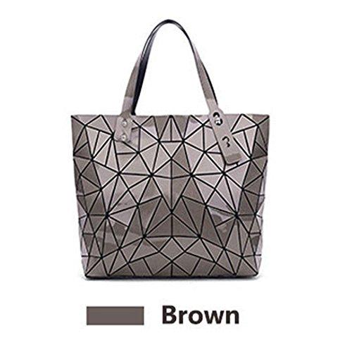 GeometricBolso de las mujeres Geometría Paquete Lentejuelas Espejo Liso Bolsos plegables Bolsas Para Mujeres Bolsas de Hombro Red Brown