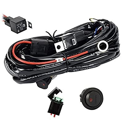 Eyourlife Wiring Harness, 12V 40A Off Road LED LIGHT Bar On Off Power Switch Relay Wiring Harness kit (DT Connector 2 Leads - Power Relay Blade Fuse): Automotive [5Bkhe1500705]