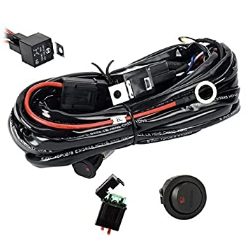 Wiring Harness, Eyourlife Heavy Duty Wiring Harness Kit for Led Light bar 300W 12V 40A Fuse Relay On/Off Switch Relay 14AWG 12FT Length Universal Fitment Light Bar Accessories FBA_J_Switch_180
