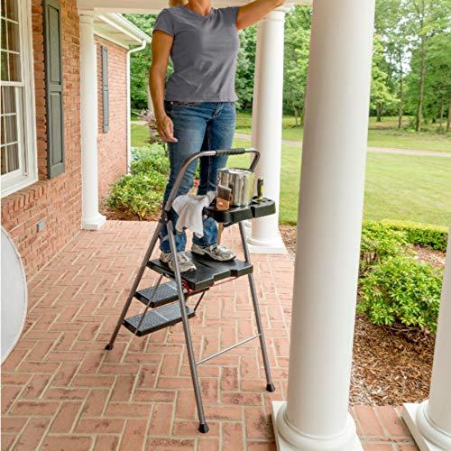 Werner 3-Step 250 lbs. Capacity Gray Steel Foldable Step Stool
