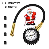 LURICO TL-003LT 100 PSI Tire Pressure Gauge with 4 Valve Stem Caps, White