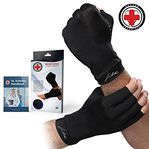 Doctor Developed Copper Arthritis Gloves/Compression Gloves and DOCTOR WRITTEN HANDBOOK -Relieve Arthritis Symptoms, Raynauds Disease & Carpal Tunnel (XL) ()