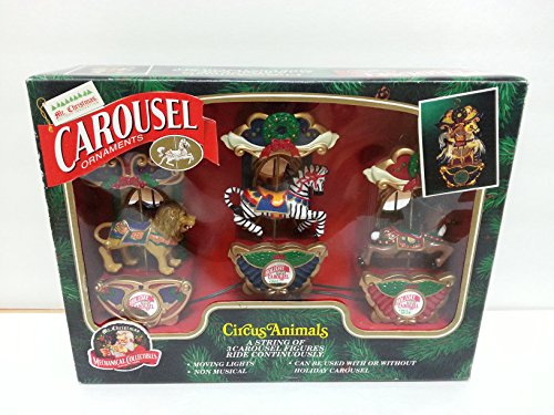 Glass Ornament Carousel (Mr. Christmas Carousel Ornaments Circus Animals - A String of 3 Carousel Figures Ride Continuously)