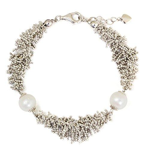 Reef Coral Bracelet - NOVICA White Cultured Freshwater Pearl .925 Sterling Silver Beaded Bracelet 7.75