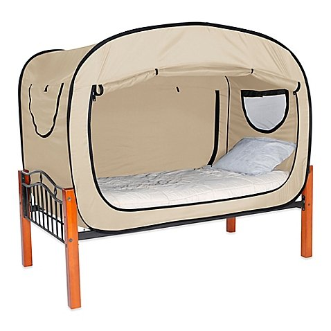 Privacy Pop Full 55'' W x 78'' L x 53'' H Bed Tent in BEIGE Provides a Convenient and Easy way to Enjoy privacy in shared Bedrooms, Open Sleeping Areas, Multi-Occupancy Dorm Rooms