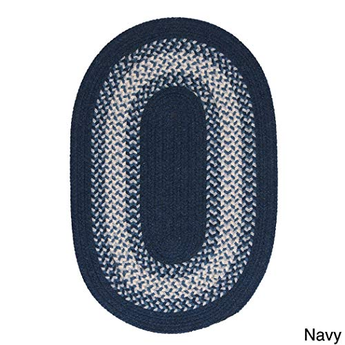 Thick Wool Braided Rug - Colonial Mills Cozy Cabin Braided Reversible Rug USA MADE (6' x 9') Navy