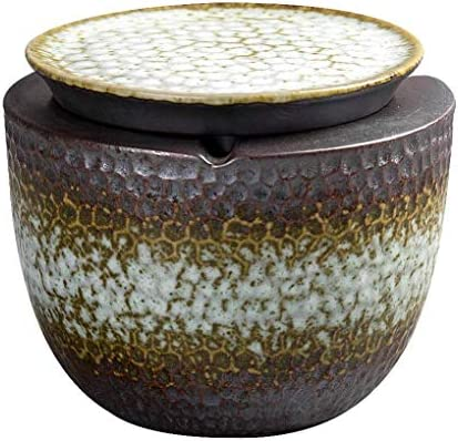 Luckya 蓋付き灰皿クリエイティブレトロなパーソナリティアート装飾リビングルームオフィスファッショントレンドセラミック喫煙家庭用灰皿(色:マルチカラー、サイズ:F)
