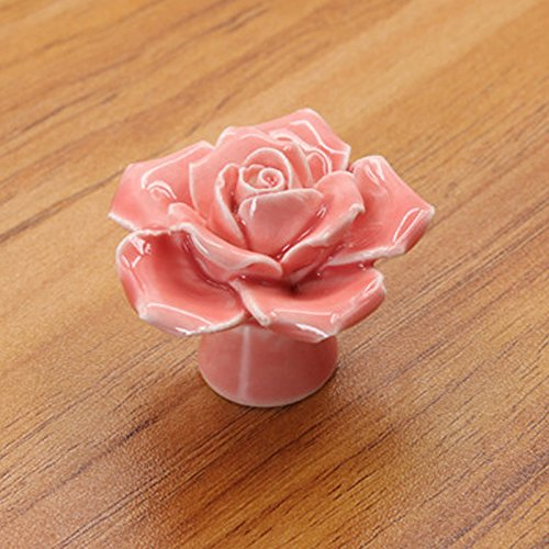 Zehui 5 Colors Vintage Rose Flower Ceramic Knobs Drawer Cupboard Door Porcelain Pull Handle 41x34x41mm,Pink (Drawer Porcelain)