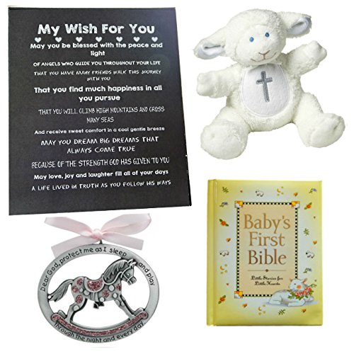 Blessed Baby Keepsake Gift (BigDream CATHOLIC BABY BAPTISM, CHRISTENING or BABY SHOWER GIFT SET-Baby Bible, Crib Medal, Lamb Rattle and Artwork- (Pink Horse))