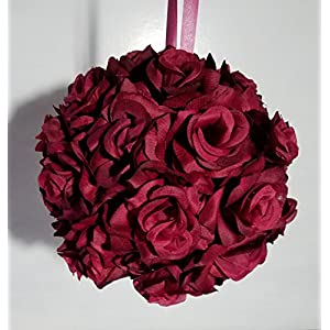 Burgundy Silk Rose Kissing Ball - Wedding Decoration 6