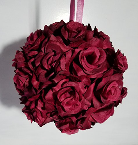 Burgundy Silk Rose Kissing Ball - Wedding Decoration ()
