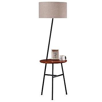 Floor lamp NNIU- Lámpara de pie de Hierro, Estante de Madera ...