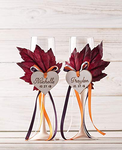 Fall Toasting Flutes, Autumn Wedding Champagne Glasses, Decorated with Maple Leaves, Satin Ribbons, Personalized Wooden Hearts, Wedding Champagne Flutes, Bride and Groom Glasses, Bridal Shower Gift
