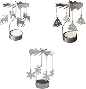 Metal Tealight Candlestick ,3Pcs Christmas Candle Spinner, Rotary Spinning Candle Holder for Christmas Wedding Home Decor Gifts