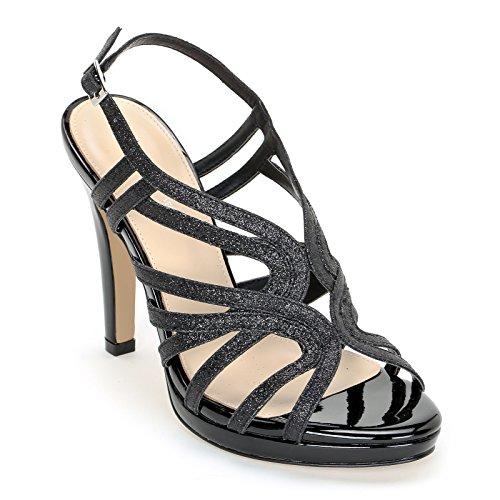 noirs shoes Sandales 12 Alesya de glitter avec hauts talons Shoes à cm talons zUff4q