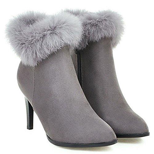 KemeKiss Women Zipper Boots Gray Gray Boots KemeKiss Zipper KemeKiss Women Women 1q1ZUwT