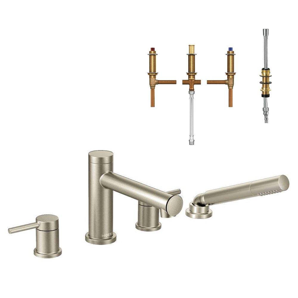Brushed Nickel Moen KT-T394-92BN Align 2-Handle Roman Tub Faucet and Handshower with 1//2-Inch CC Rough-in
