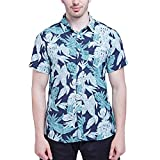 NUWFOR Men's New Short Sleeves of Beach Wind Printing Fashion Cotton Short Sleeve Top White
