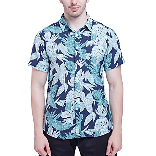 〓COOlCCI〓Men's Hawaiian Shirt Short Sleeve Shirt Beach Party Flower Shirt Holiday Print Casual Shirts 100% Cotton Blue
