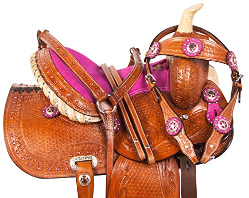 Tack Trail Pleasure Saddle (AceRugs 10 12 13 Pink Crystal Premium Leather Western Pleasure Trail Show Youth Kids Barrel Racing Pony Saddle TACK Set (13))