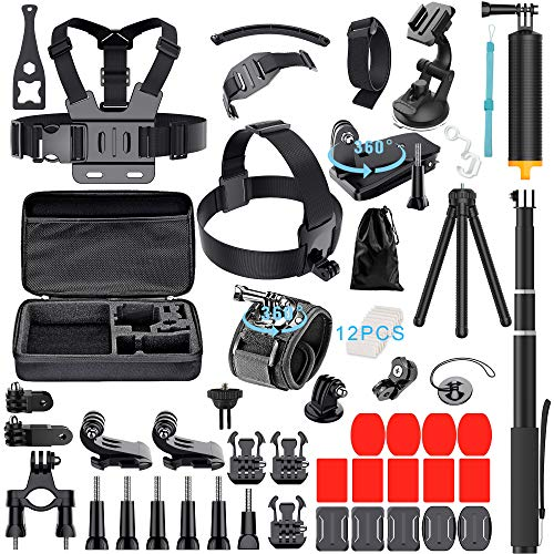 61-in-1 Action Camera Accessories Kit for GoPro Hero 7 6 5 4 3+ Hero Session 5 Black Accessory Bunble Set for AKASO APEMAN DBPOWER Xiaomi Yi SJ6000 Campark Rollei Lightdow Sony Sports DV Action Camera