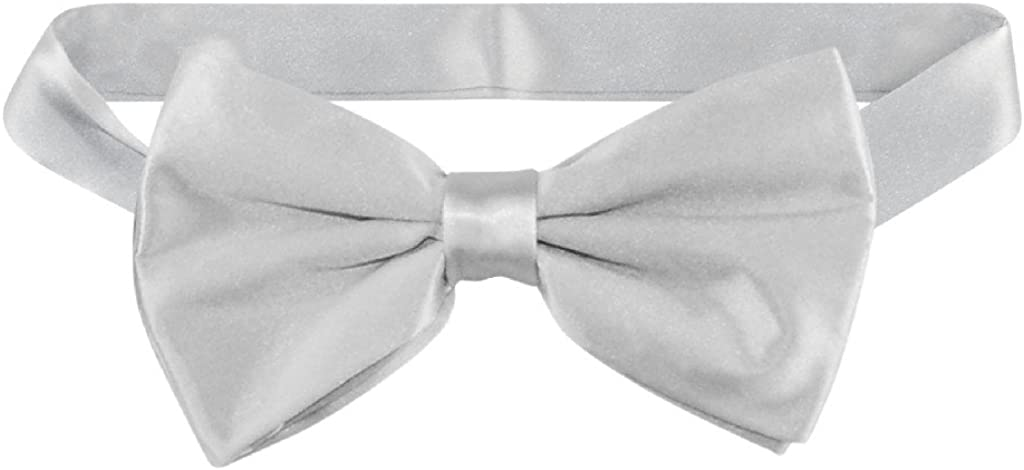 NEW MEN/'S Solid Bow tie Bowtie Only Formal Party Prom Wedding Silver