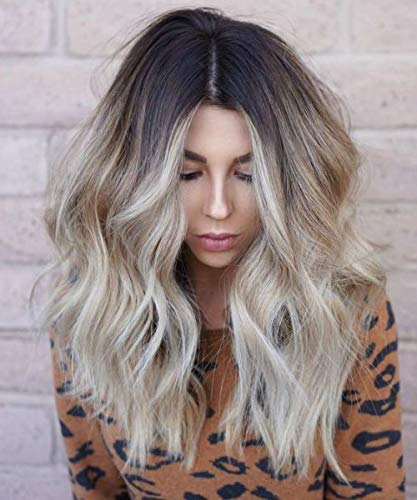Ugeat 16inch Topper with Clips Crown Toupee for Women Wiglets Mono Hairpiece Real Remy Hair for Thinning Hair Balayage Brown with Blonde 1.5×5inch