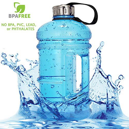 Vaupan Half Gallon Big Water Bottle, 2.2L/73OZ Large Leak Proof Sports Jug with Handle, Huge BPA Free PETG Plastic Wide Mouth Drinking Container Flask for Fitness Gym Biking Outdoor Travel - Bottle Bpa Free Handles