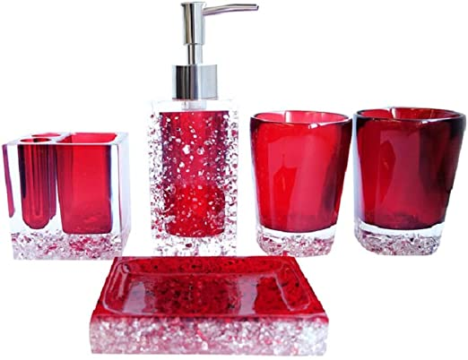 No Tray Red Toothbrush Holder Tumbler Soap Dispenser Luant Bathroom Accessory Set Resin Soap Dish