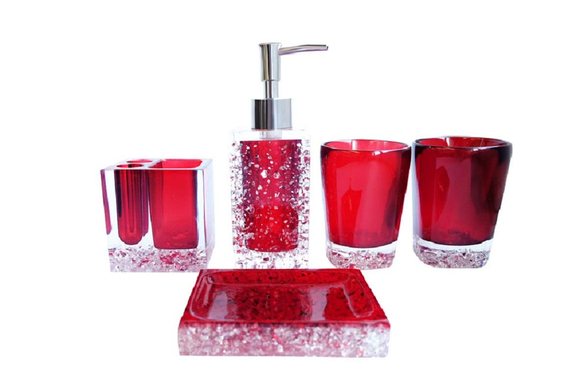 NarwalDate 5 Pieces Bathroom Accessory Set, Upgraded Version Acrylic with Crystal, Including Toothbrush Holders,Gargle Tooth-Brushing Tumbler,Soap Dishes,Soap & Lotion Dispenser Pump (Red) Senwish YSTJ