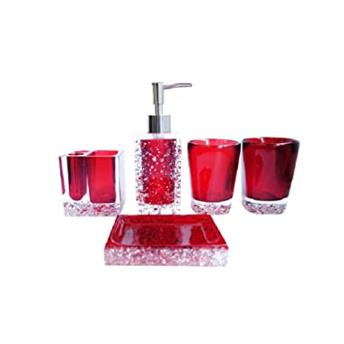 NarwalDate 5 pieces Bathroom Accessory Set, Upgraded Version Acrylic With Crystal, Including Toothbrush Holders,Gargle Tooth-brushing Tumbler,Soap Dishes,Soap & Lotion Dispenser Pump (Red)