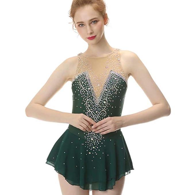 Amazon.com: Vestido de patinaje con figura verde, falda de ...