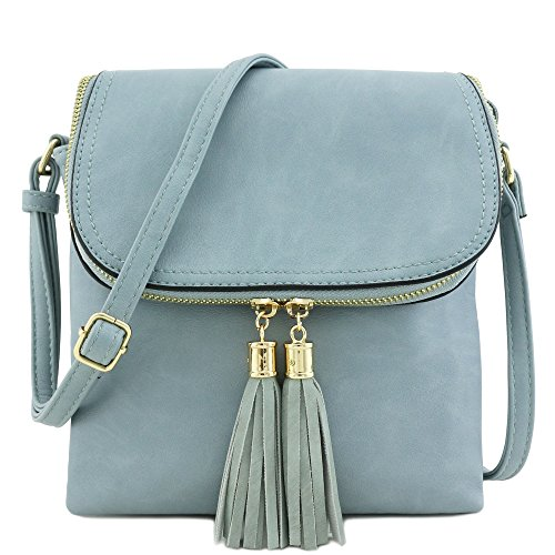 - Flap Top Double Compartment Crossbody Bag with Tassel Accent (Blue Grey)