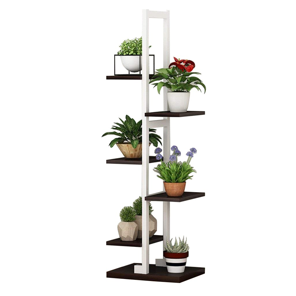 Flower Racks Plant Shelf Steel Frame Stand Metal Garden Plant Display Pot Shelves Rack Outdoor/Indoor 6 Flower Pots Holder in White for Living Room Garden Office 30x30x122cm JUN-Flower rack