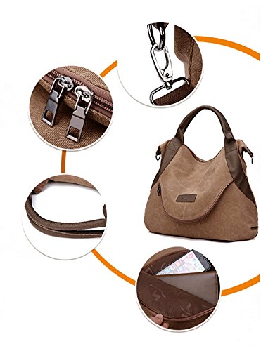 93e5508c58b8 xiaoxiongmao Large Pocket Casual Women s Shoulder Cross body Handbags  Canvas Leather Bags