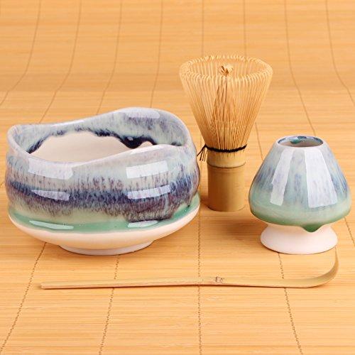 Goodwei Premium Matcha Tea Set Sumi - Ceremonial Bowl Chawan, Whisk and Holder - Gift Bo (120)