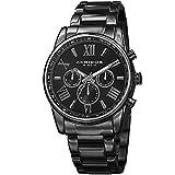 Akribos Multifunction Stainless Steel Chronograph Watch - 3 Sub-Dials Complications Quartz - Men's Heavy Bracelet Watch - AK904
