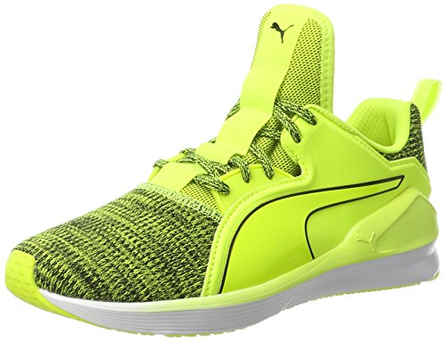 WN's Damen Hallenschuhe Lace White Puma Fierce Yellow Safety Gelb Knit 02 puma wIZdqa