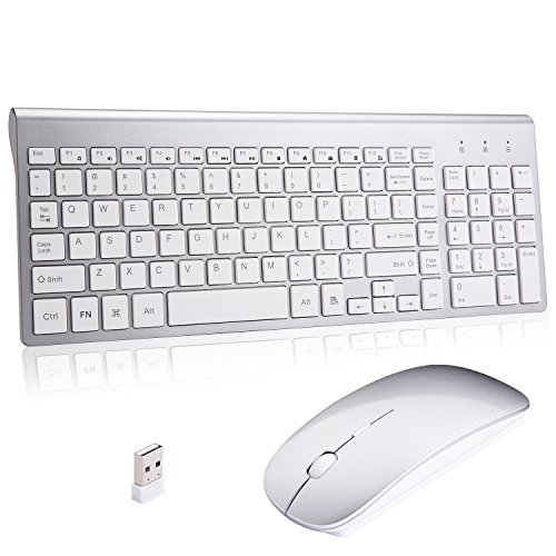 Wireless Keyboard and Mouse Combo,Ultra Slim with Mute Whispe-Quiet Keys for Laptop Notebook Mac PC Computer Windows OS Android - Wireless Laptop For Apple Mouse