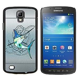 YiPhone /// Prima de resorte delgada de la cubierta del caso de Shell Armor - Plata Club de Pesca de Pez Vela Blue Fish - Samsung Galaxy S4 Active i9295