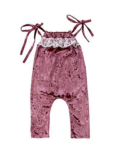 Fleece Playsuit (Baby Girl Splice Halter One-Piece Sleeveless Lace Fleece Romper Jumpsuit Playsuit (Purple, 2-3 Years))