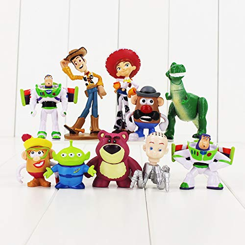 PAPCOOL Set 10 Toy Figures 1 -3.5 inch Hot Toys Woody Buzz Lightyear Jessie Hamm Bullseye Mini Small Action Figure Christmas Collectibles Halloween Collectable Gifts Collectible Big Gift for Kids Baby
