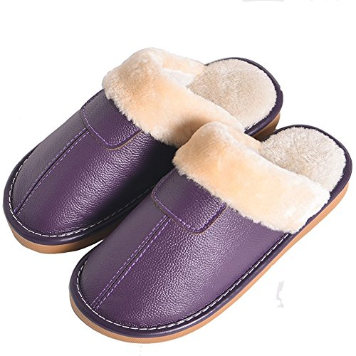 Cotton Lelather New Non Slip Home Slippers Winter Couple Purple Slippers ICANFLY9 Warm Slippers Indoor Leather Cdqwxdg7