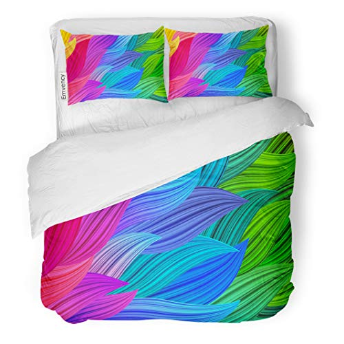 Semtomn Decor Duvet Cover Set King Size Blue Multicolor Abstract Bright Colorful Bg Rainbow Screensavers Green 3 Piece Brushed Microfiber Fabric Print Bedding Set -